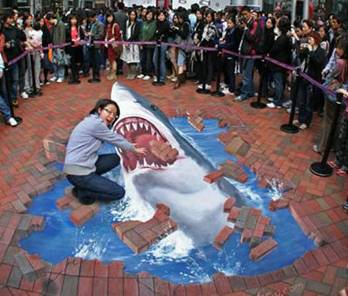 Sidewalk shark art